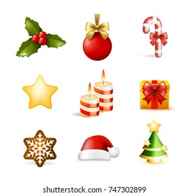 Christmas Time! Set of Elements on White Background . Isolated Vector Illustration
