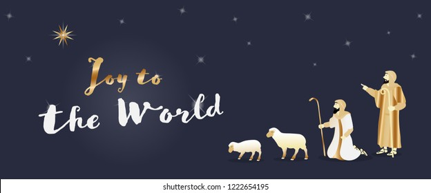 Christmas time. The shepherds in the fields with sheeps. Text : Joy to the world.