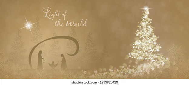 Christmas time. Christmas tree with stars and snowflakes in golden winter landscape. Text : Light of the world
