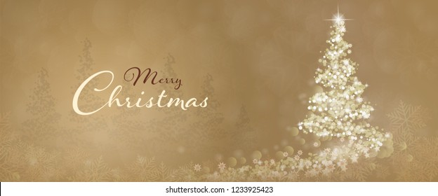 Christmas time. Christmas tree with stars and snowflakes in golden winter landscape. Text : Merry Christmas