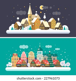 Christmas time. Urban and Village landscapes. Christmas market in the square. Vector flat illustrations
