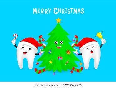 Christmas tooth characters celebrate with Christmas tree. Emoticons facial expressions. Funny dental care concept. Illustration isolated on blue background.