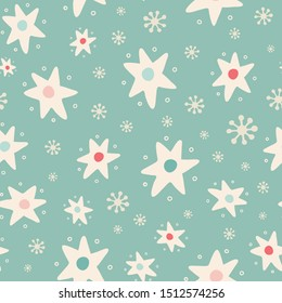 Christmas tossed star and snowflake seamless pattern background. Hand drawn seasonal vector repeat design in vintage colours.