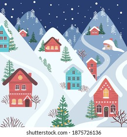 Christmas town. Happy new year and merry Christmas winter old town street. Christmas town city panorama. Holidays. Snow winter city landscape. Vector illustration in flat style.