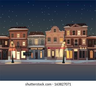 Christmas town illustration. Seamless pattern