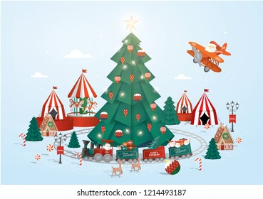 christmas town template vector illustration