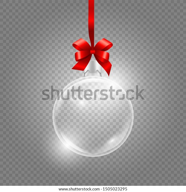 Christmas toy. Glass globe with red silk ribbon. Realistic vector glass ball isolated on transparent background
