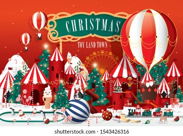 christmas toy land town greetings template vector/illustration