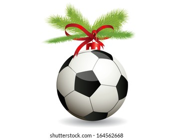 Christmas toy soccer ball.Vector