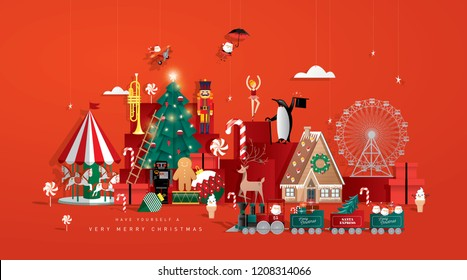 christmas toy store greeting card template vector/illustration