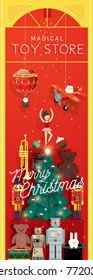 christmas toy store window display vector/illustration