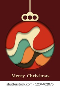 Christmas toys ball. Abstract background. Cut paper