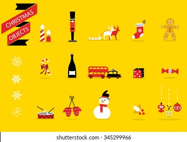 Christmas toys and decorations - Vector icons Set