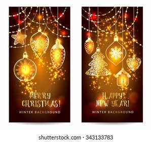 Christmas toys on dark background. Holiday banners set.