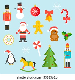 Christmas toys and sweets set, vector illustration. With different nutcrackers, Santa Claus, bear, candy, Christmas tree, wood horse, snowman, penguin, ball, mistletoe, etc.