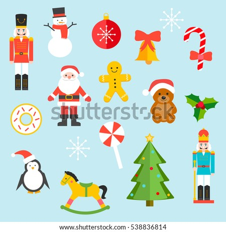 christmas toys and sweets set vector illustration with different nutcrackers santa claus - Free Christmas Toys