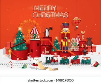 christmas toyshop/winter wonderland christmas greetings template vector/illustration