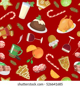 Christmas traditional food pattern vector illustration. Xmas New Year meal
