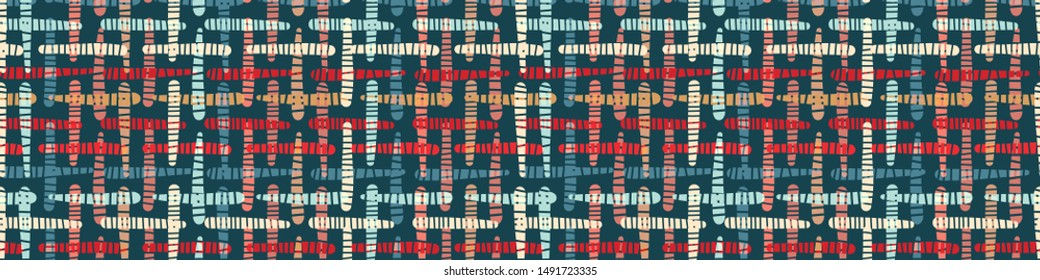 Christmas traditional gingham plaid border. Horizontal seamless tartan edging trim pattern. Red green holiday festive banner. Vector washi tape