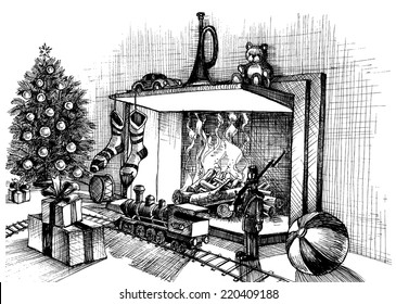 Christmas Fireplace Sketch Images, Stock Photos \u0026 Vectors