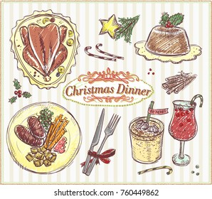 Christmas traditional menu, hand drawn food illustration, holiday menu - roasted turkey, pudding, eggnog, cranberry wassail, etc.
