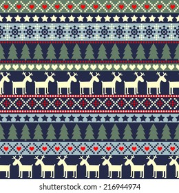 Christmas traditional ornamental knitted pattern. Cute Xmas background. Vector seamless pattern.