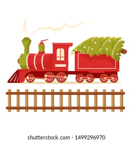 Christmas train carries a Christmas tree. Christmas toy locomotive for holiday cards, tags and greeting cards