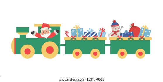 Christmas train with gifts. There is also Santa Claus and snowman in the picture. Vector illustration