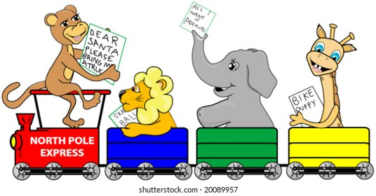 Christmas Train with zoo animals riding to the north pole with their lists for Santa Claus.