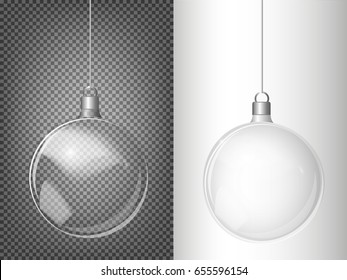 Christmas transparent ball of glass. Elements of Christmas decorations. Transparent vector object for design, layout. A shiny toy with a silver glow. Isolated object. Vector illustration.