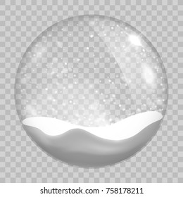 Christmas transparent snowglobe. Isolated on transparent background. Vector illustration, eps 10.