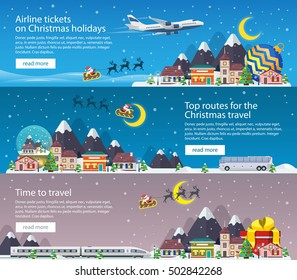 Christmas travel banners in flat style illustration. Traveling by plane, bus and train. Nature, buildings, village and city in a flat style. The winter vacation. Mountains, buildings, trees and snow.