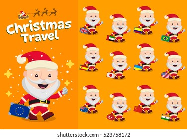 Christmas travel. Santa Claus carrying a suitcase. New Year and winter travel Characters cute flat. Suitcase with different country flags. Flags Britain, UAE, China, India, Japan, USA. Flat icons.