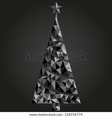 Christmas Tree Abstract Dark Triangle Unusual Stock Vector Royalty