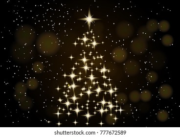 Christmas Tree. Christmas background. Neon Gold Christmas tree as a symbol of Happy New Year, Merry Christmas holiday celebration. Bright shiny design Vector illustration. Cute snow