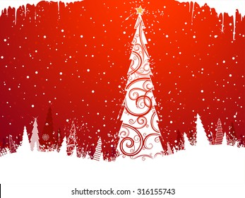 Christmas Tree Background. Red winter background with Christmas tree in the center. There is copy space for your text.