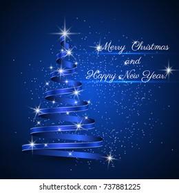 Christmas tree background, ribbon, vector