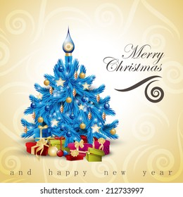 Christmas Tree Background - Vector Illustration, Graphic Design Editable For Your Design