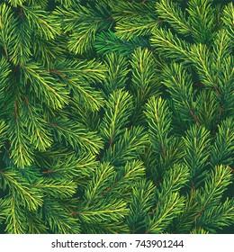 Christmas tree background. Winter artistic seamless pattern, made of green fir branches. Greeting card. Happy new year. Xmas design for vector retro holiday card