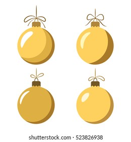 Christmas tree ball with bow icons set. Gold baubles decoration, isolated on white background. Symbol of Happy New Year, Xmas holiday celebration, winter. Flat design for card. Vector illustration