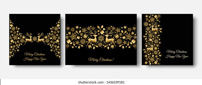 Christmas tree,  ball. Gold pattern. Golden, white  decoration. Happy New Year black background. Xmas  reindeer, gifts,  snowflakes. Vector template  for greeting  card.