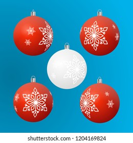 Christmas tree ball ornament 4 red and 1 white set, snowflakes pattern.