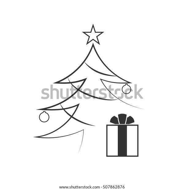 Christmas Images Cartoon Black And White.Christmas Tree Balls Star Gift Cartoon Stock Vector Royalty