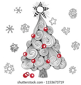 Christmas tree, balls, star. Pattern for coloring book. Black, white and red.  Zentangle style.