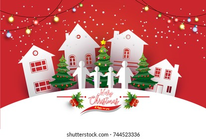 Christmas tree with beautiful lamps decorate the tree. there are homes and families. design paper art and crafts