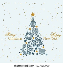 Christmas tree from beautiful snowflakes pattern for greeting card Happy New Year Christmas. Gold stars as decoration. Vector illustration