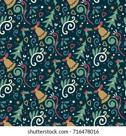 Christmas Tree and Bell Seamless Pattern - Great for Christmas and Winter Projects, Wrapping Paper, Backgrounds, Wallpapers.