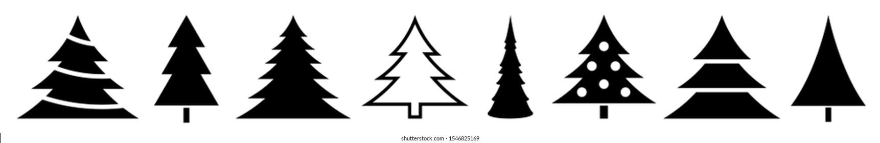 Christmas Tree Black Icon Fir Tree Adornment Illustration x-mas Symbol Logo Isolated Variations