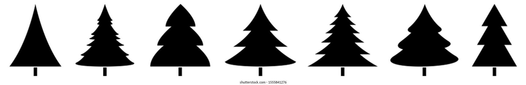 Christmas Tree Black Icon Fir Illustration Symbol Isolated Variations