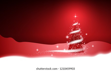 Christmas tree, blizzard, stars, snow,  sky, night, red background for New Year project. Winter background.
